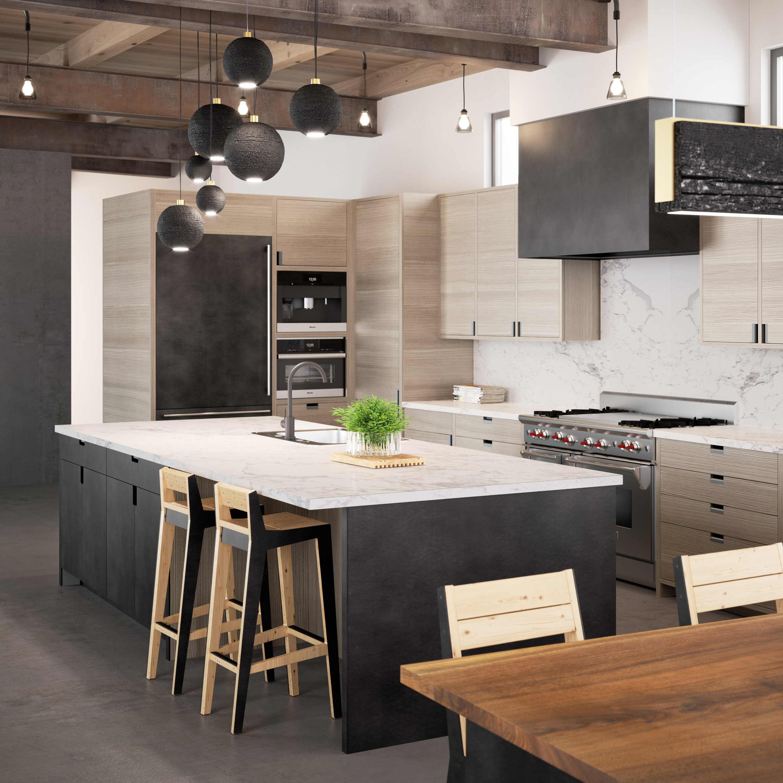 A modern kitchen featuring blackened steel and horizontal grain Larch cabinetry.