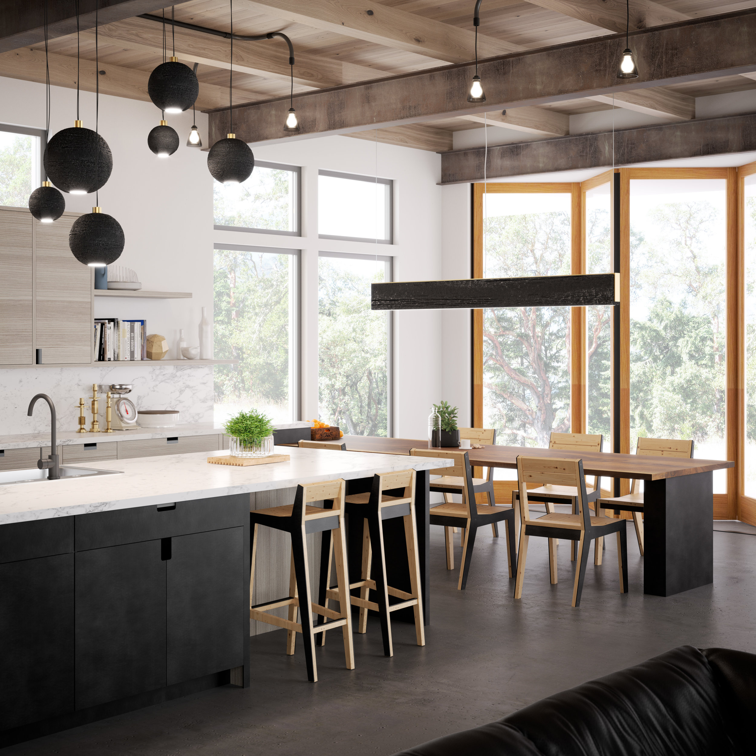 An exciting new project on the boards. A modern kitchen in a private residence featuring blackened steel and horizontal grain Larch cabinetry, shou sugi ban lighting fixtures, and in-house custom built chairs.