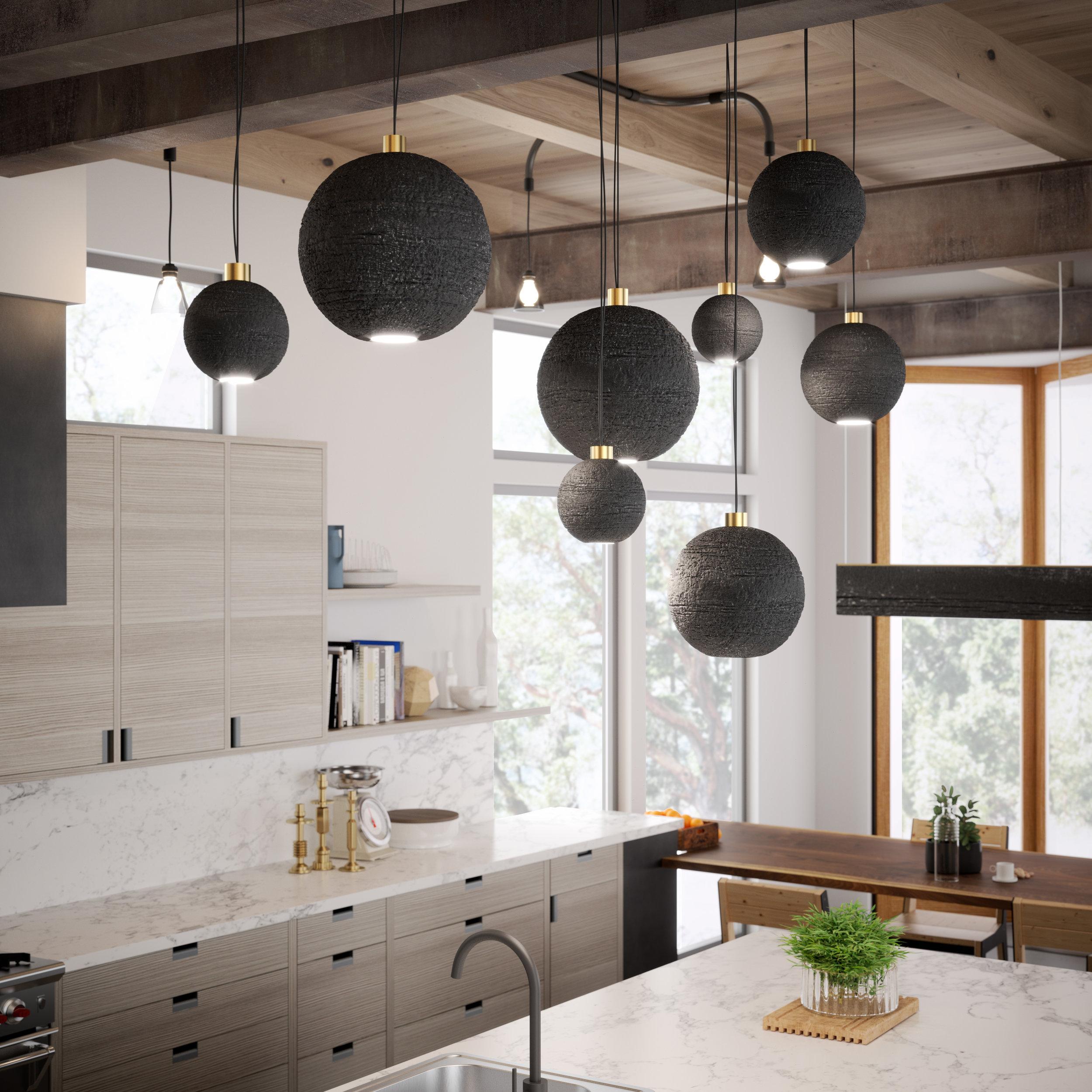 Architect: Patano Studio Architecture  Custom shou sugi ban lighting fixtures designed by Gauge Design Group.