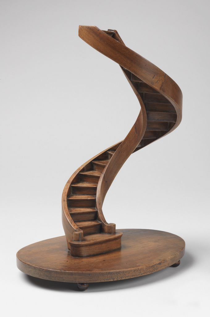 Staircase Model, France, 1820-40, planed, joined and veneered pearwood, walnut, Gift of Eugene V. Thaw and Clare E. Thaw