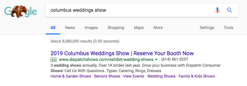 Google Ad for Columbus Weddings Show