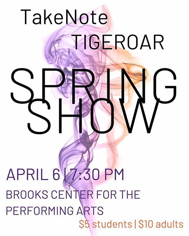 It's that time of year for our Spring Show!! This year we are changing it up and will be performing with the ladies of @clemsontakenote for a night of new music and some awesome new surprises! Please come out and support Saturday, April 6th at 7:30 in the Brooks Center!! #CUthere #gotigers