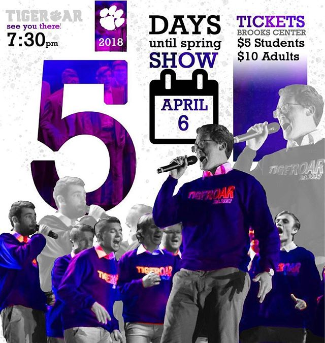 ONLY 5 DAYS TILL SHOW!! C U THERE!! #gotigers🐅