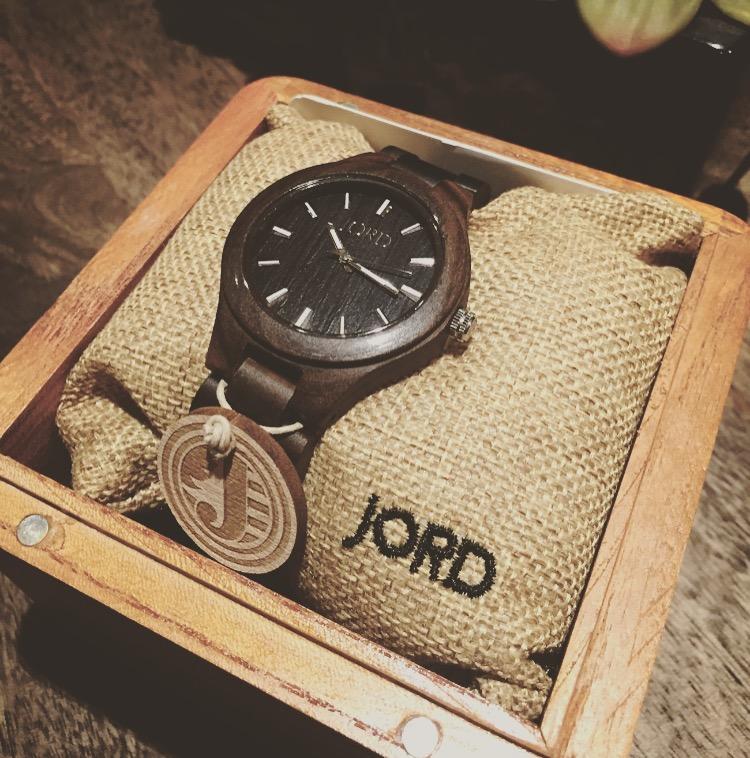 Cynthia Johnson's Fieldcrest series dark sandalwood JORD women's watch in its original package