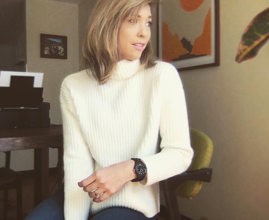 Cynthia Johnson wearing a white sweater and JORD Fieldcrest dark sandalwood women's watch
