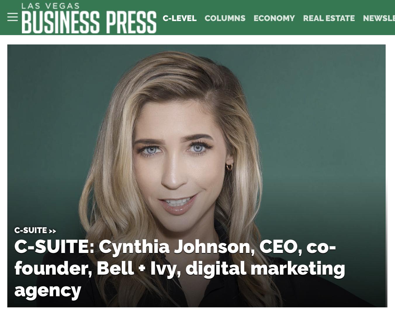 C-SUITE: Cynthia Johnson, CEO, co-founder, Bell + Ivy, digital marketing agency - LAS VEGAS BUSINESS PRESS