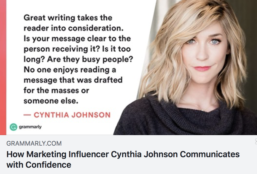 How Marketing Influencer Cynthia Johnson Communicates with Confidence - GRAMMARLY