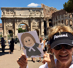 Visiting the Coliseum.