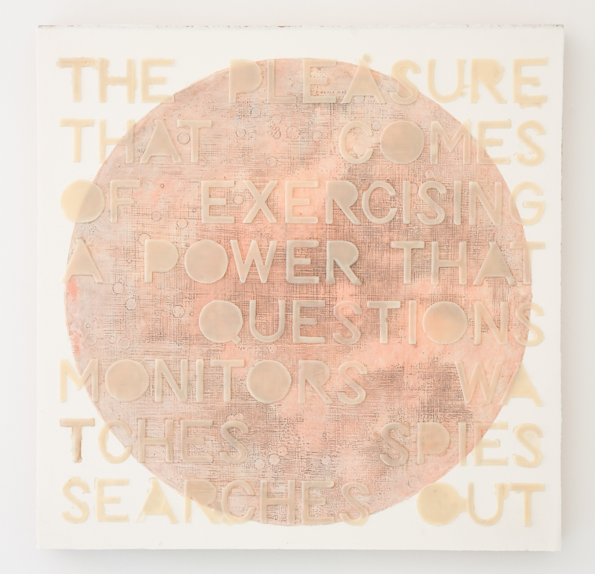 power & pleasure (flesh becomes words), 2017, gauche & graphite wax-plate print & encaustic on paper, wooden panel