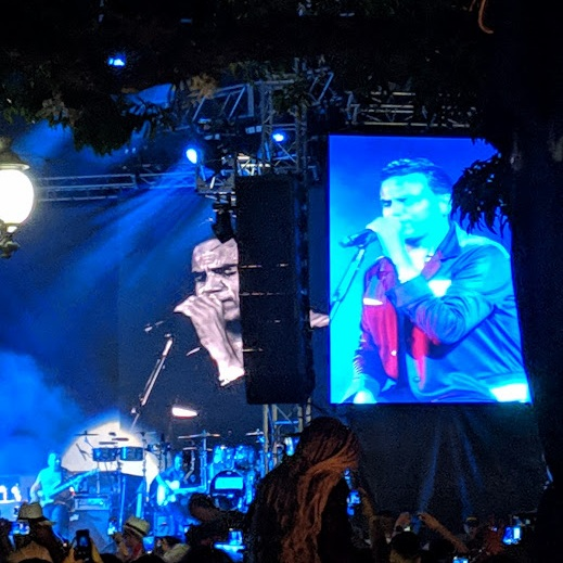 Colombian singer Sylvestre Dangond onstage and onscreen in San Carlos during  the Fiestas del Agua.