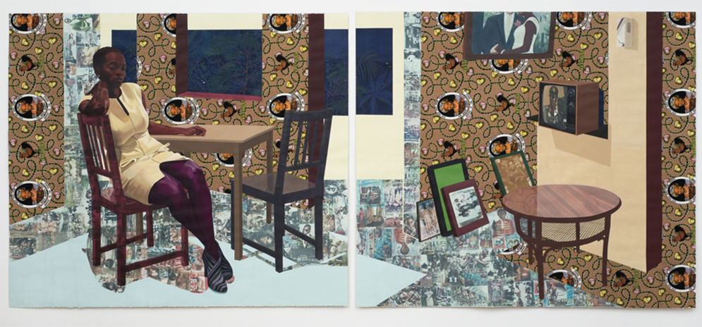 Njideka Akunyili Crosby, Portals (2016), Acrylic, transfers, colored pencils, collage and commemorative fabric on paper.