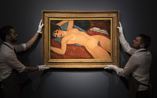 Amedeo Modigliani. Nu couché oil on canvas. 23 5/8 x 36 ¼ in. Painted in 1917-1918