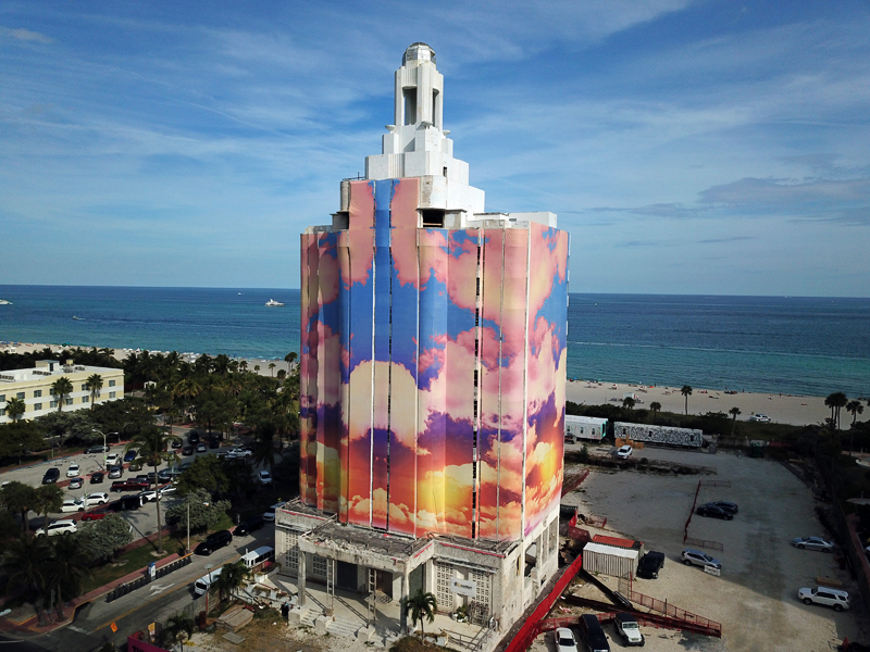 #9 Miya Ando   Sora Versailles  (2018)  Printed mesh panels attached to the exterior of Versailles Hotel in Miami Beach  Commissioned by Faena Art
