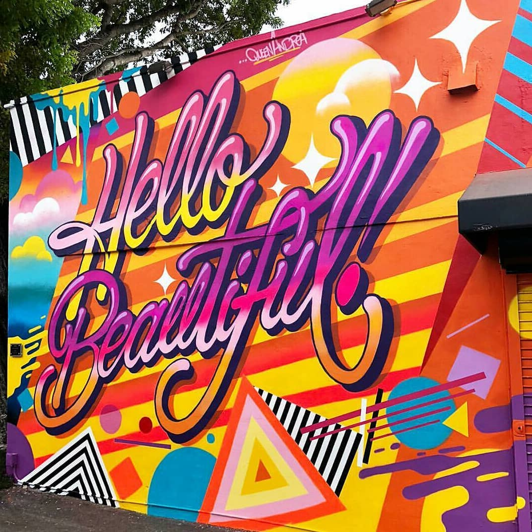 #5 Queen Andrea   Hello Beautiful  (2018)  Spray paint  Installed as part of the 2018 Wynwood Walls program