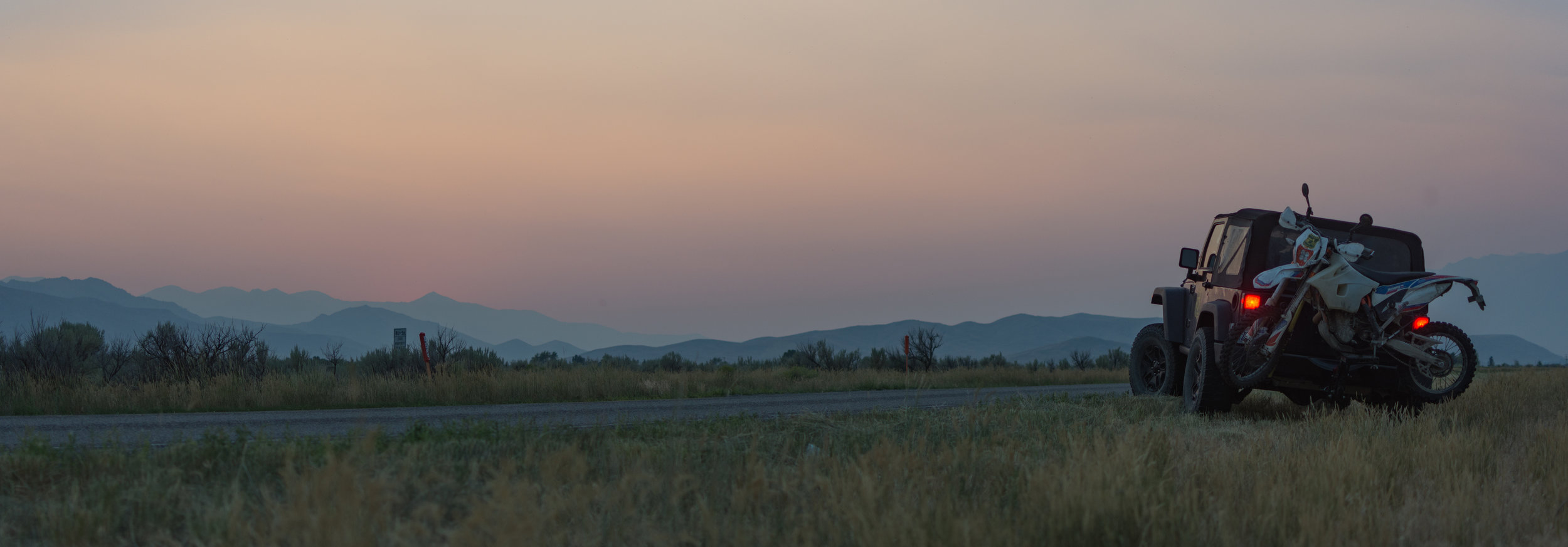 Smoky sunset just outside of Mackay, ID.