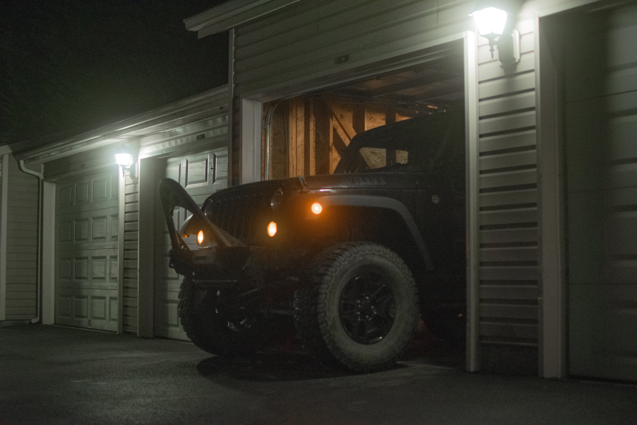 Rolling out of the garage.