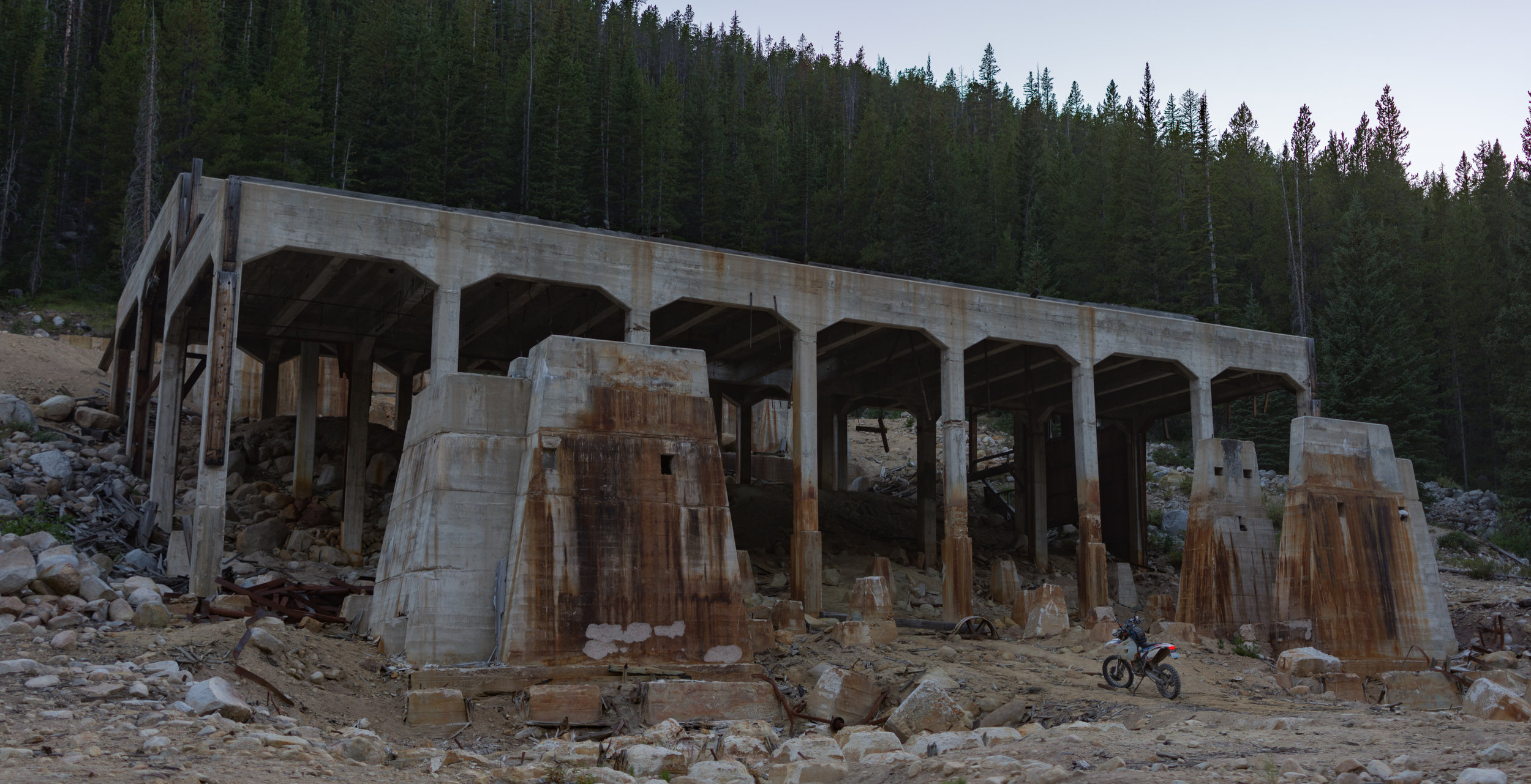 Large structure leftover from silver mining.