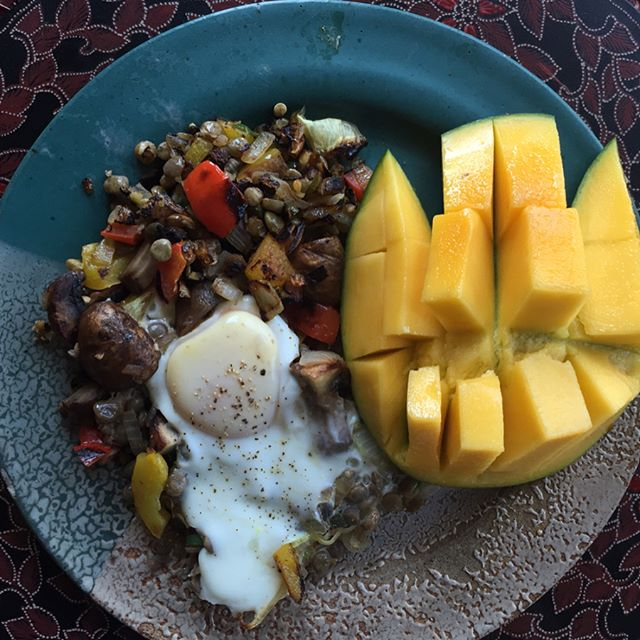 Lentil Hash Topped with an Over Easy Egg, side of Mango.