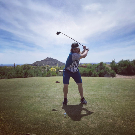 Michael hitting a drive at Cochise Golf Course in Arizona