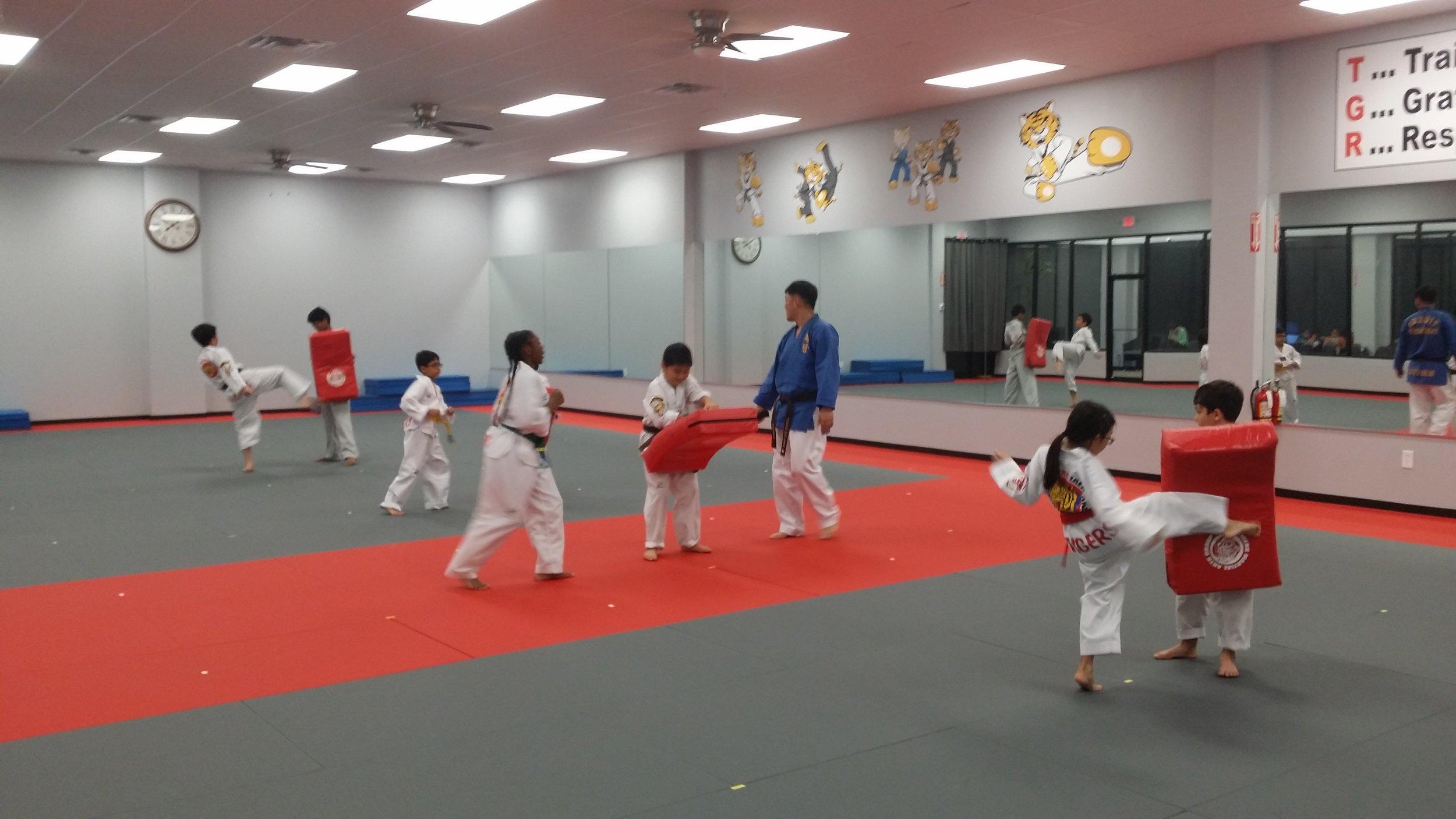 Color Belt class, Cinco Ranch school