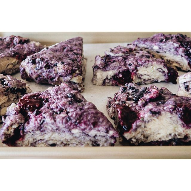 Swipe to see before and after of these blackberry lime scones ! . . . . .  Recipe by @bakerbynature