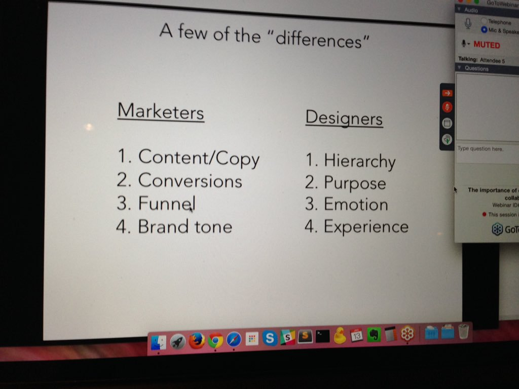 "Figure 4.  From ""Marketers & designers do have the same goals but look at them from different perspectives #invisionwebinar,"" by O. Gozha, 2016,  https://twitter.com/OliaGozha/status/687337397521113088/ . Copyright 2018 by Olia Gozha."
