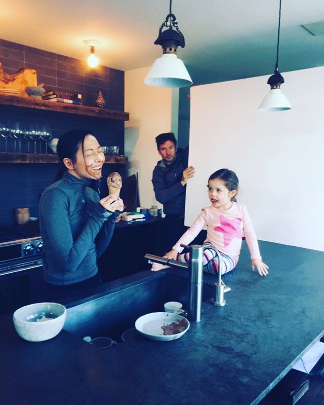 #TBT to #BTS when our executive producer @graceaudrey was trying to get our littlest talent to laugh for a shot and smeared ice cream all over her face.