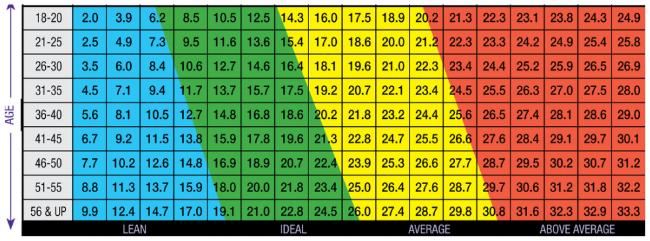 Jackson Pollock - Ideal body fat range for males.