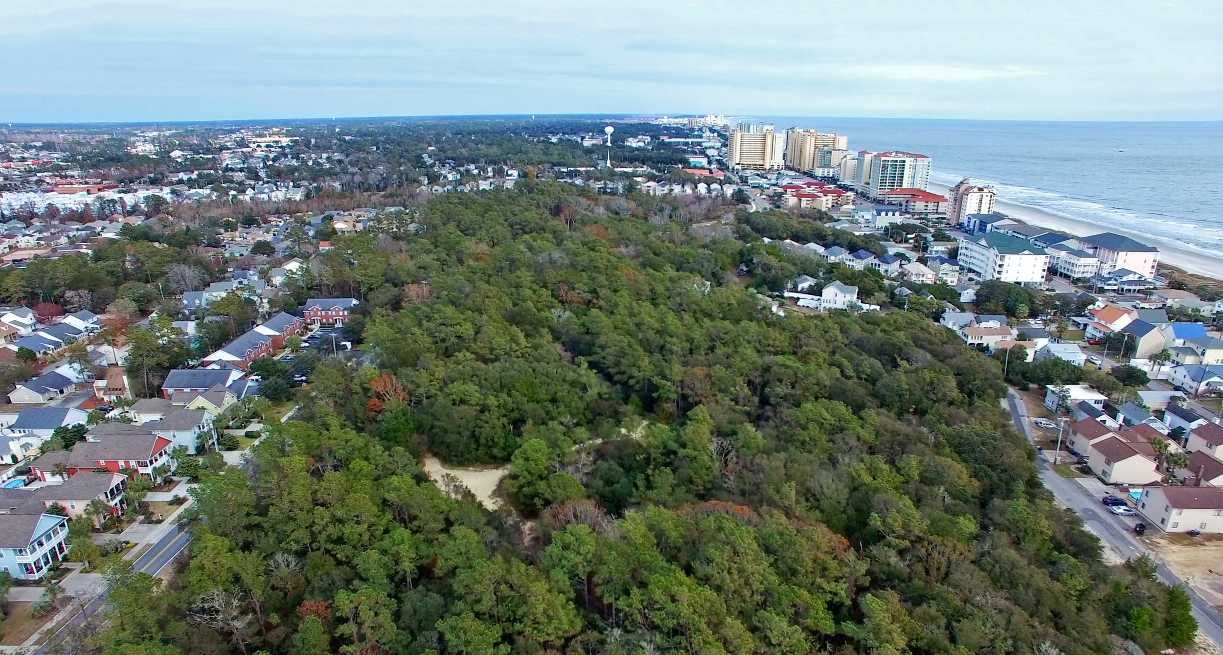 An aerial view of the Ingram Dunes, located in the heart of North Myrtle Beach off of Hillside Drive between 9th Avenue South and 10th Avenue South.