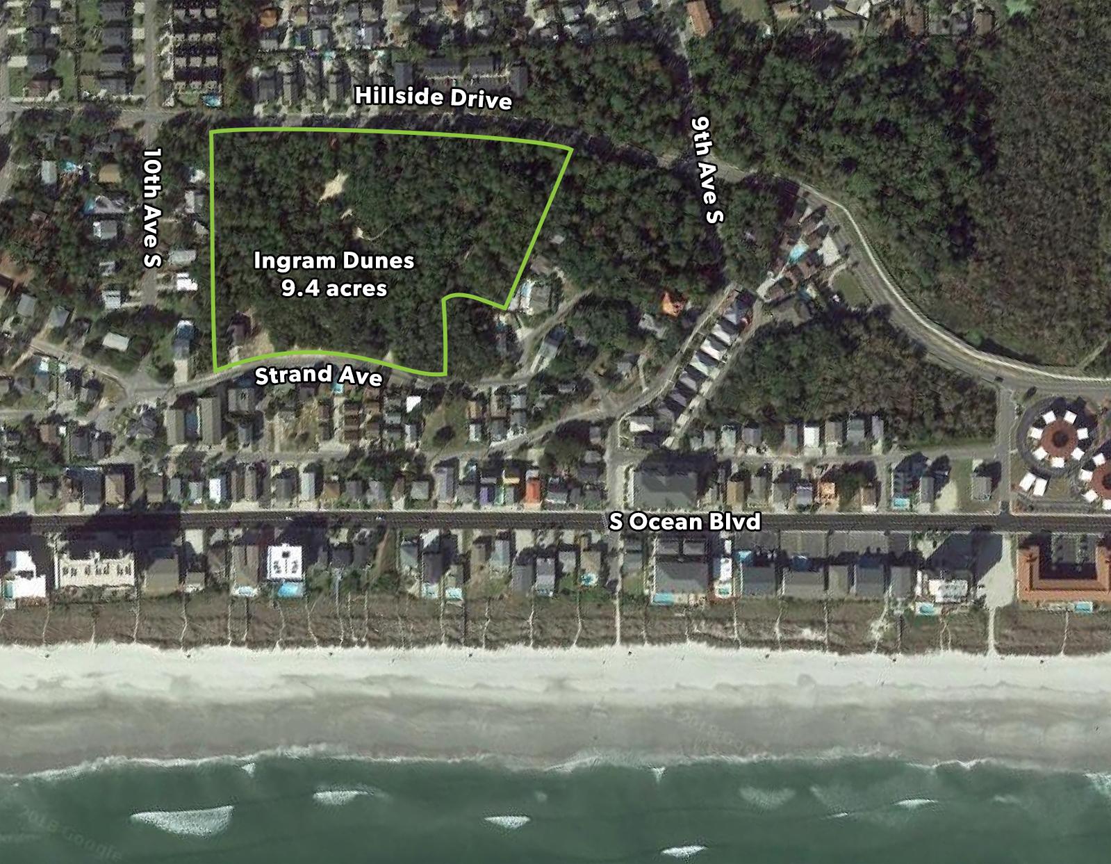 An aerial view of Ingram Dunes in North Myrtle Beach, SC.