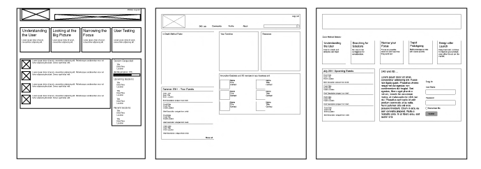 Some of our early and discarded wireframes