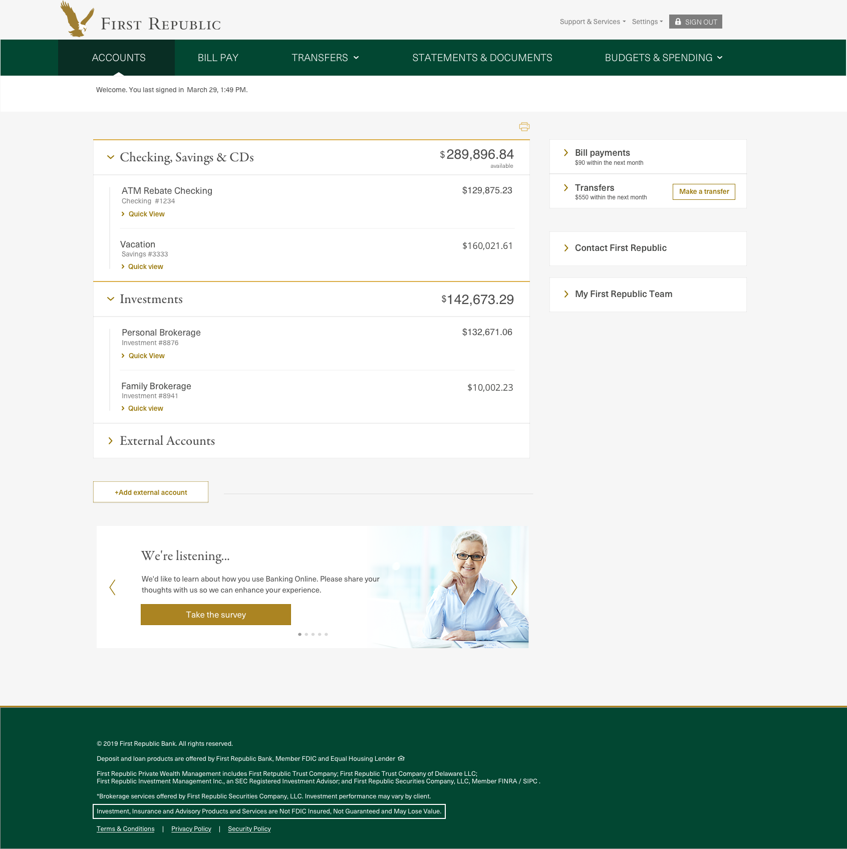First Republic Bank's online banking