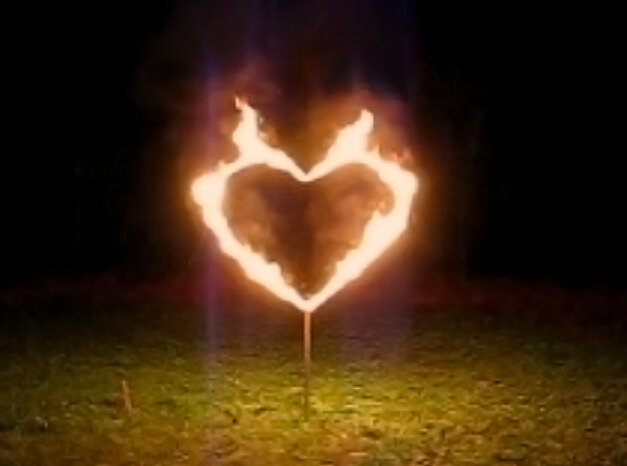 Fire Heart, 4x4ft, stands ~5ft tall, Burns for 1:30mins.