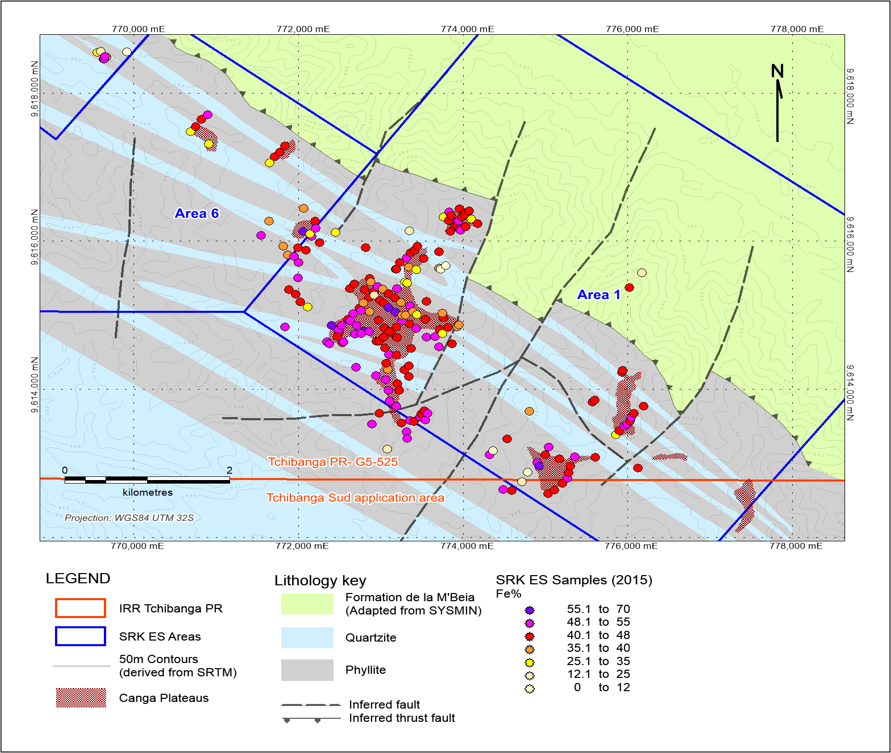 interpreted geology and ferruginous hard cap extent with sampling results