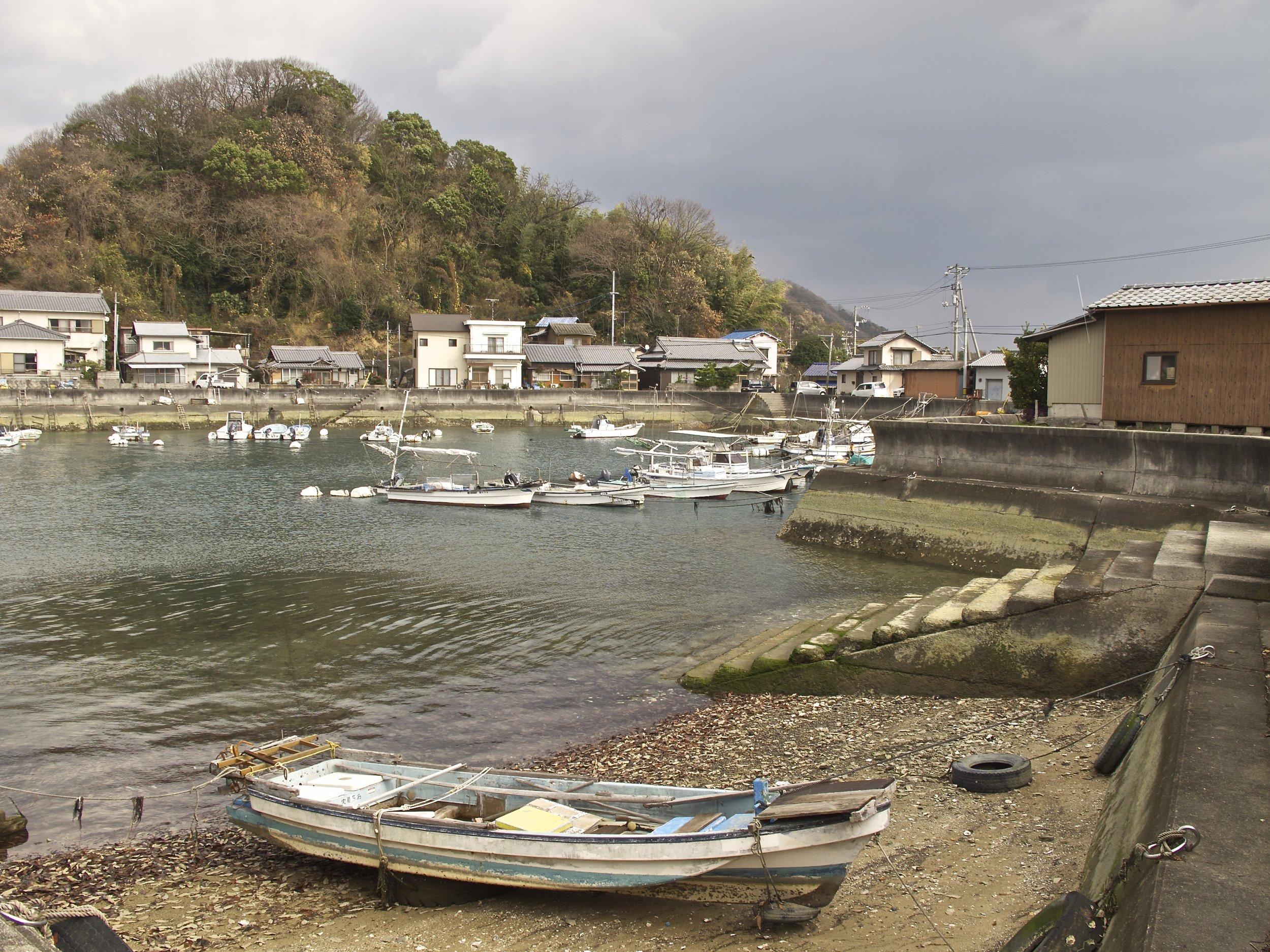 The port town of Tarumi where ferries from Takehara on the Honshu Island mainland arrive at Osakikamijima.