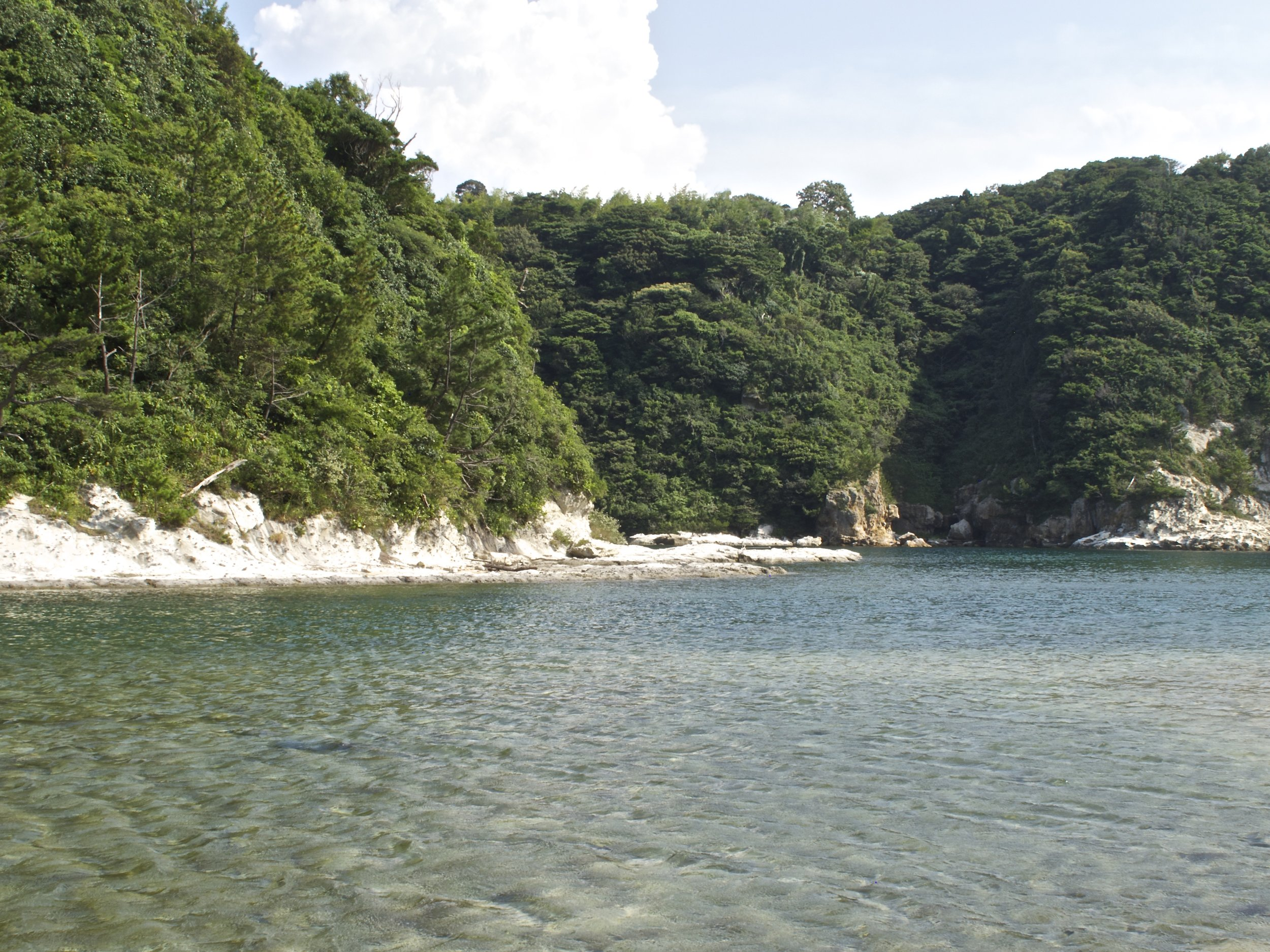 The hillocks and coves of the meandering harbor of Yunotsu Onsen, part of the Iwami Ginzan UNESCO World Heritage Site.