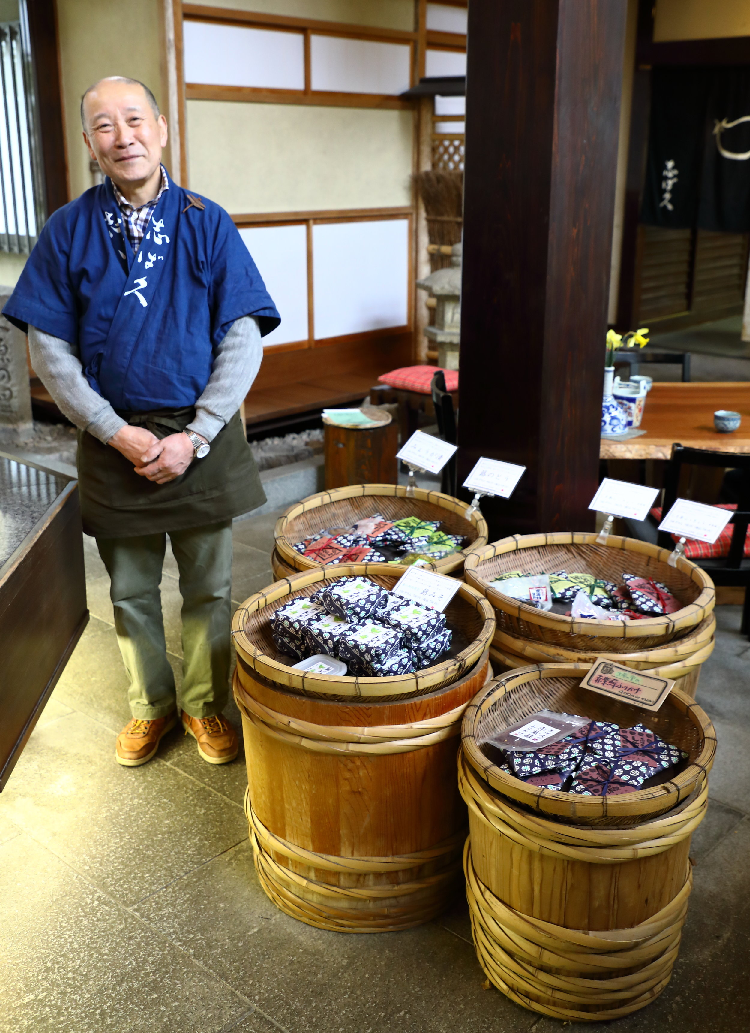 Artisanal food maker Masaru Kubo in the his shop in Ohara.