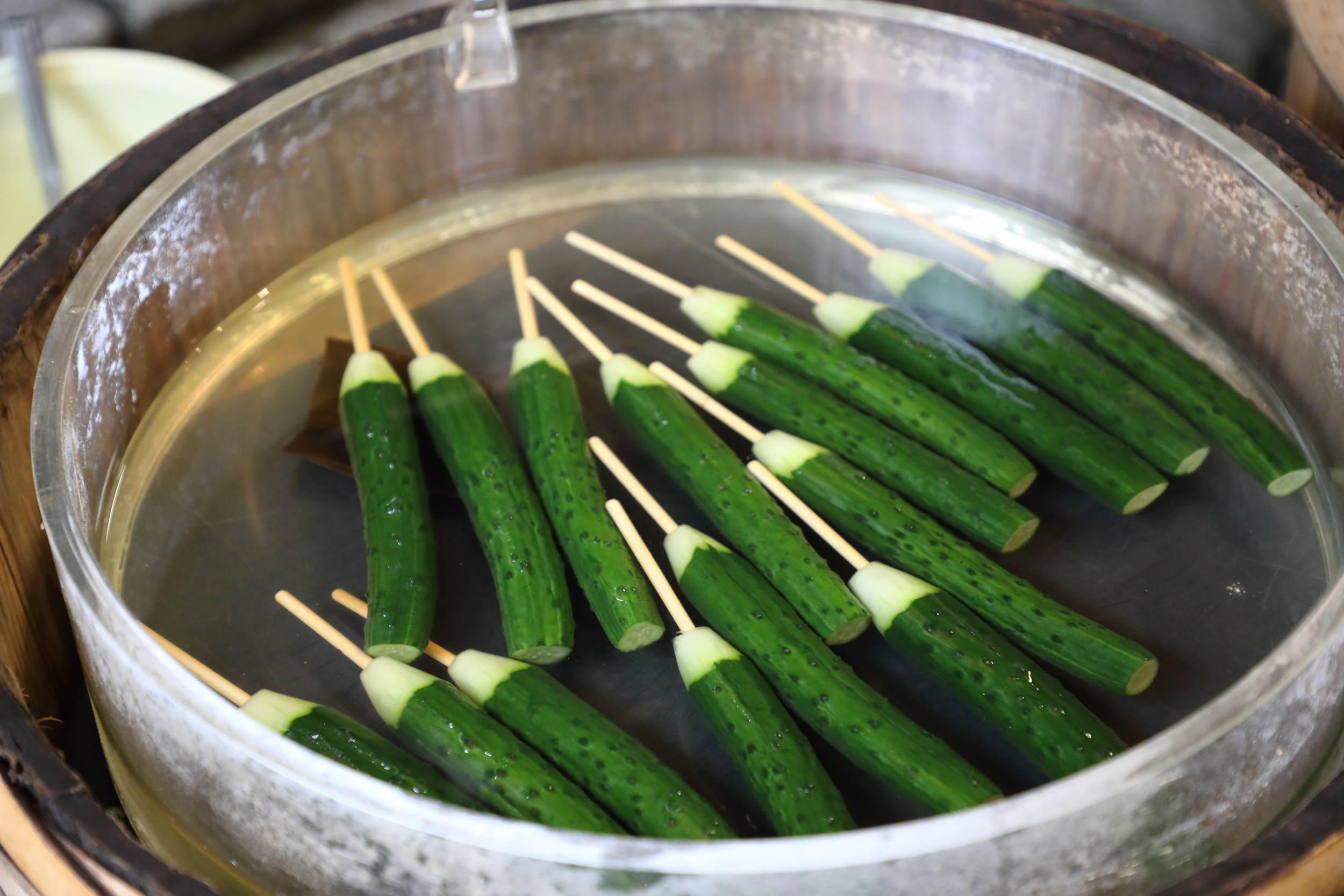 Lightly pickled in salt and iced konbu stock, Shibakyu's slender, virtually seedless, and crunchy Japanese cucumber pickles-on-a-stick are a healthy and refreshing snack even on a cool spring day.