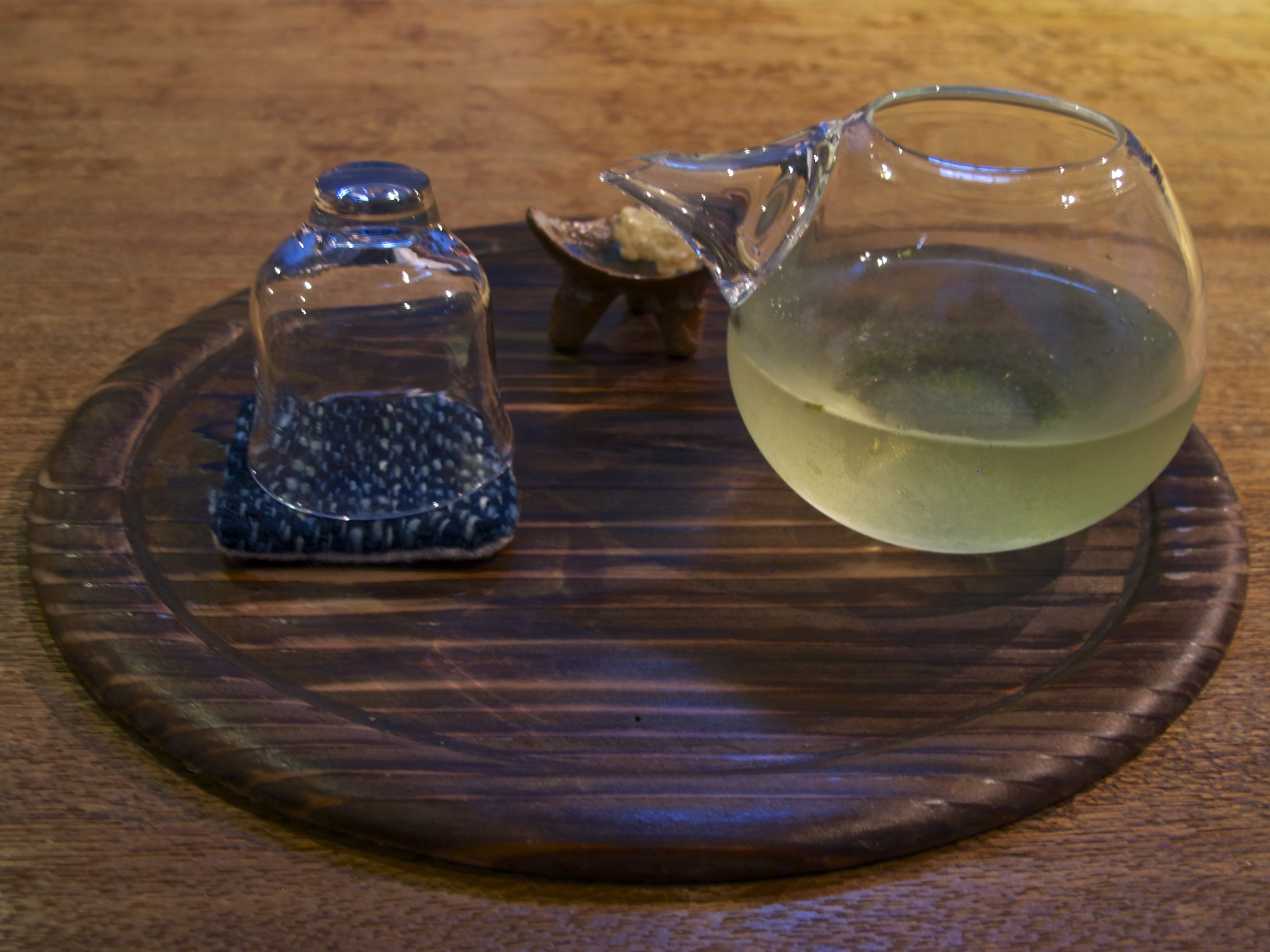 Made from tea bushes grown in the shade and laden with umami, g yokuro  is the richest tasting type of green tea. In summer it is served cold in a hand-blown pitcher and glass to guests upon their arrival.