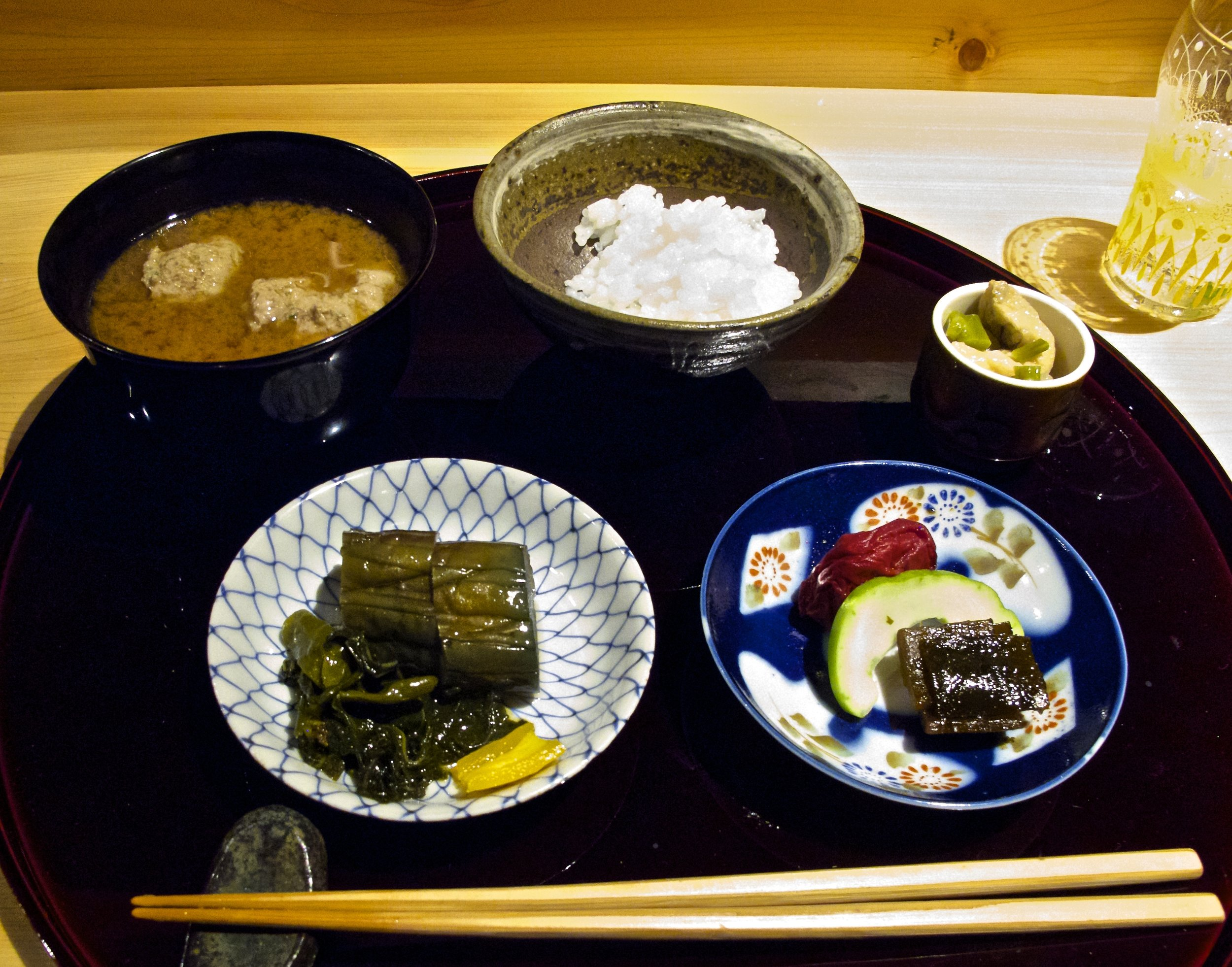 Tome-wan (止椀) & Ko-no-Mono (香の物) - The rice, soup, and pickles course of a Japanese meal is considered the main course, with everything that came before it being appetizers. This is definitely true at Muroi, where this course is truly a meal in itself. The rice, which is as much as you want, is grown across the road at Higuchi Farm. Its quality is evidenced by how iridescently shiny it is. The soup is a deeply satisfying strong red miso soup filled with meatballs made of duck raised on Mt. Katsuragi in Nara prefecture.