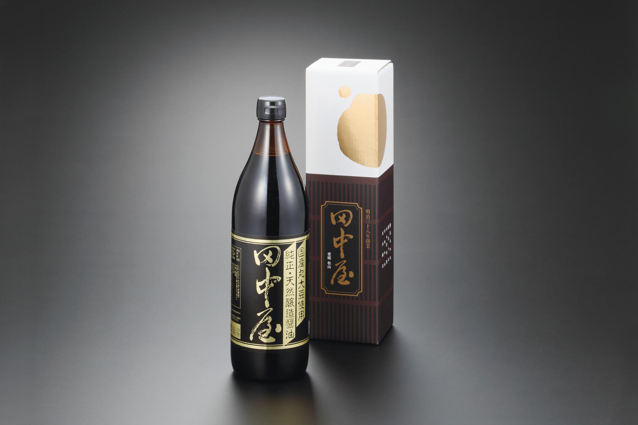 "Tanakaya's "" Koikuchi "" soy sauce is labelled "" Junsei Tennen Jozo Shoyu "" or ""Pure Naturally Brewed Soy Sauce."""
