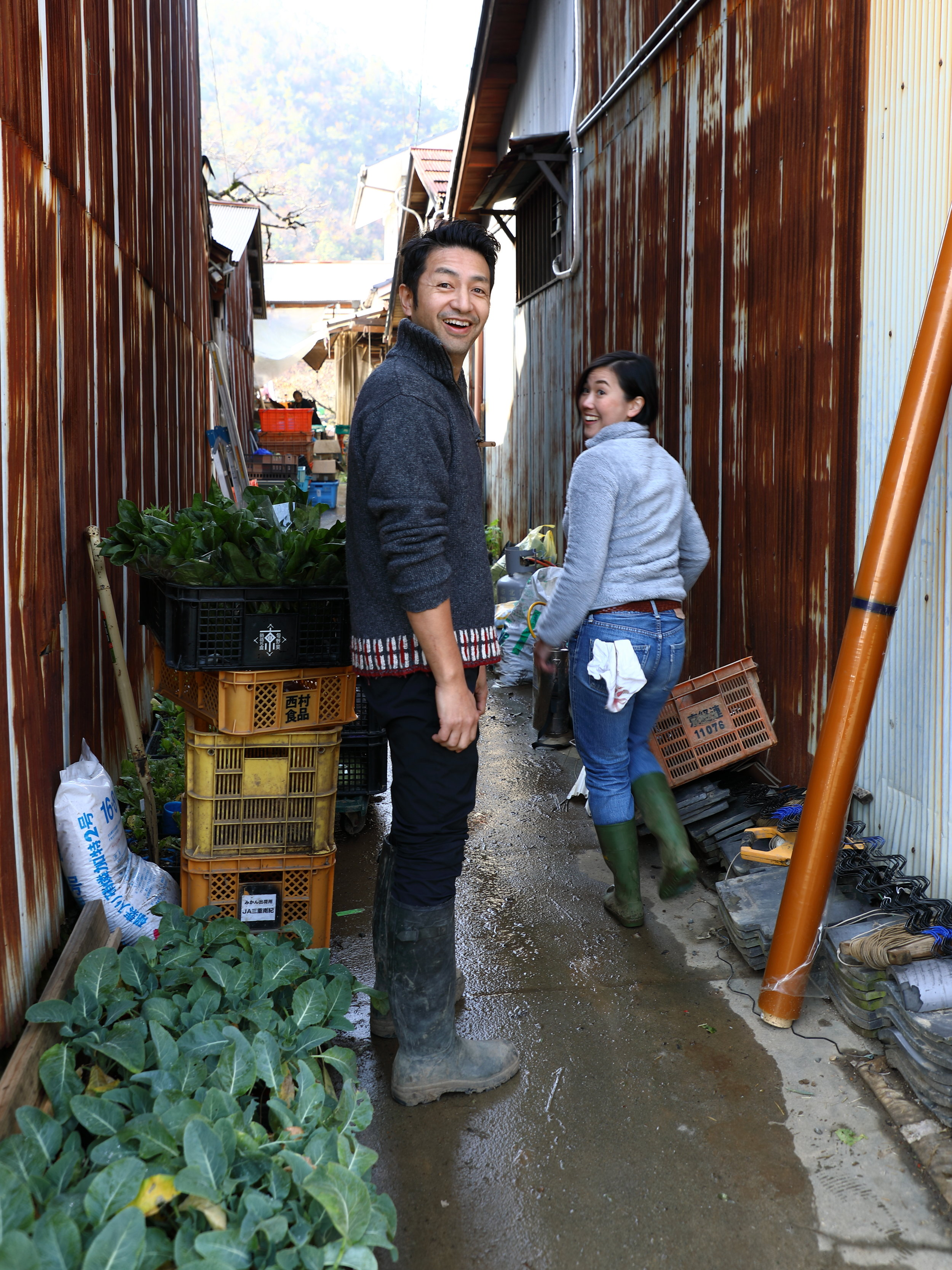 Shigeru starts each day by harvesting vegetables and gaining inspiration at Higuchi Farm across the road from the restaurant.