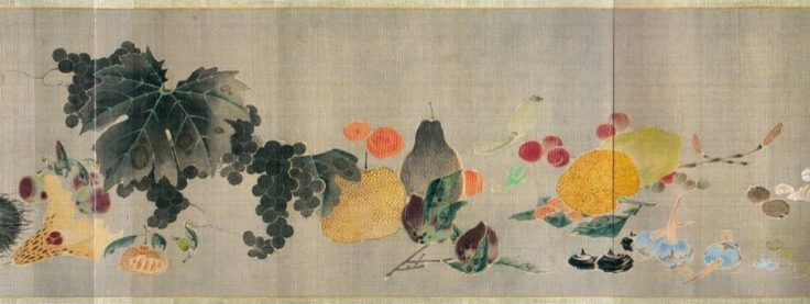 "A folding screen titled ""Vegetables with Insects"" by Kittsu Suzuki (1796 – 1858), a painter of the late Rinpa school."