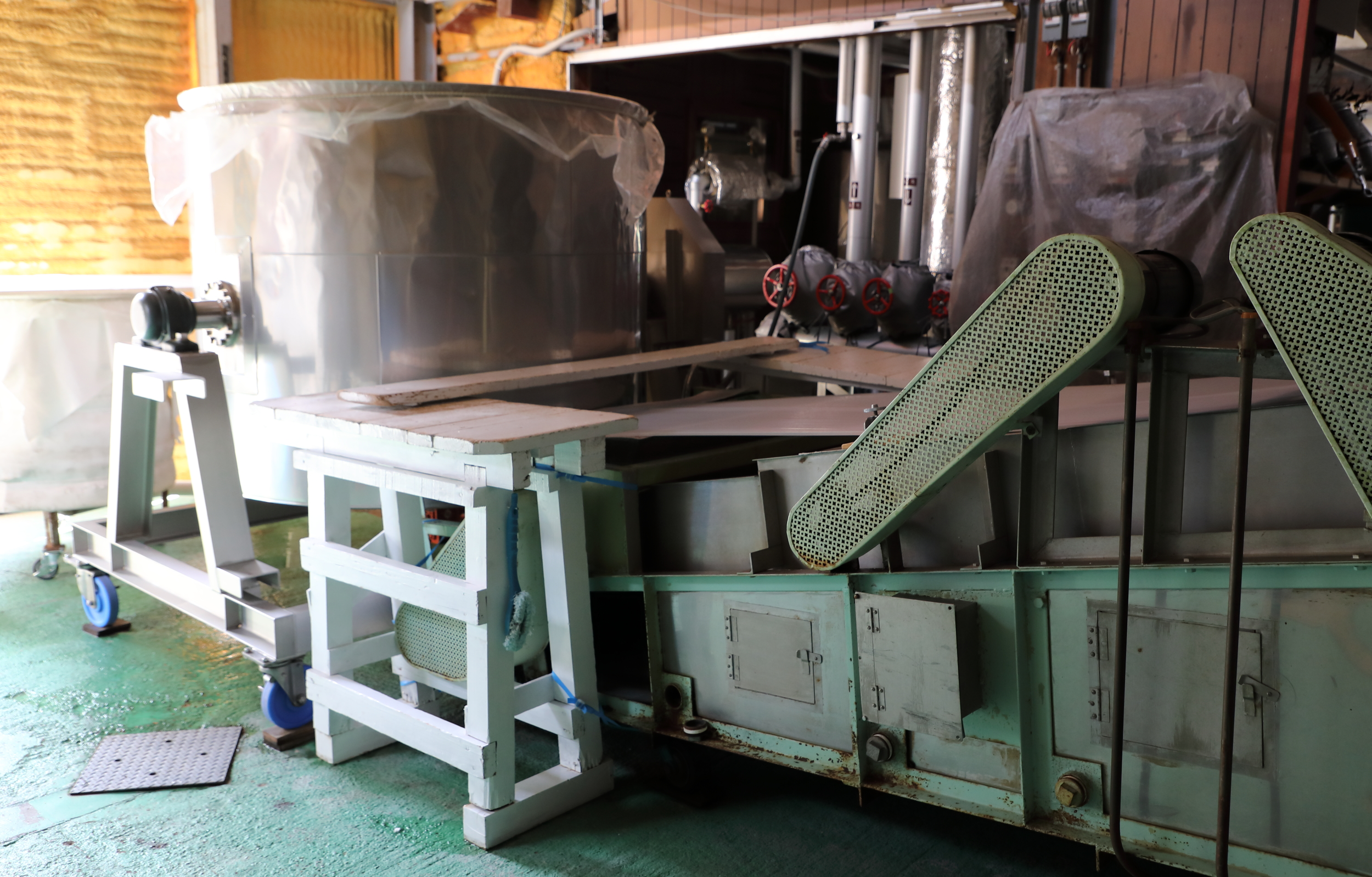 """Miho calls this machine """"my lovely steamer"""" because it is used daily and plays such an important part in the sake-making process."""