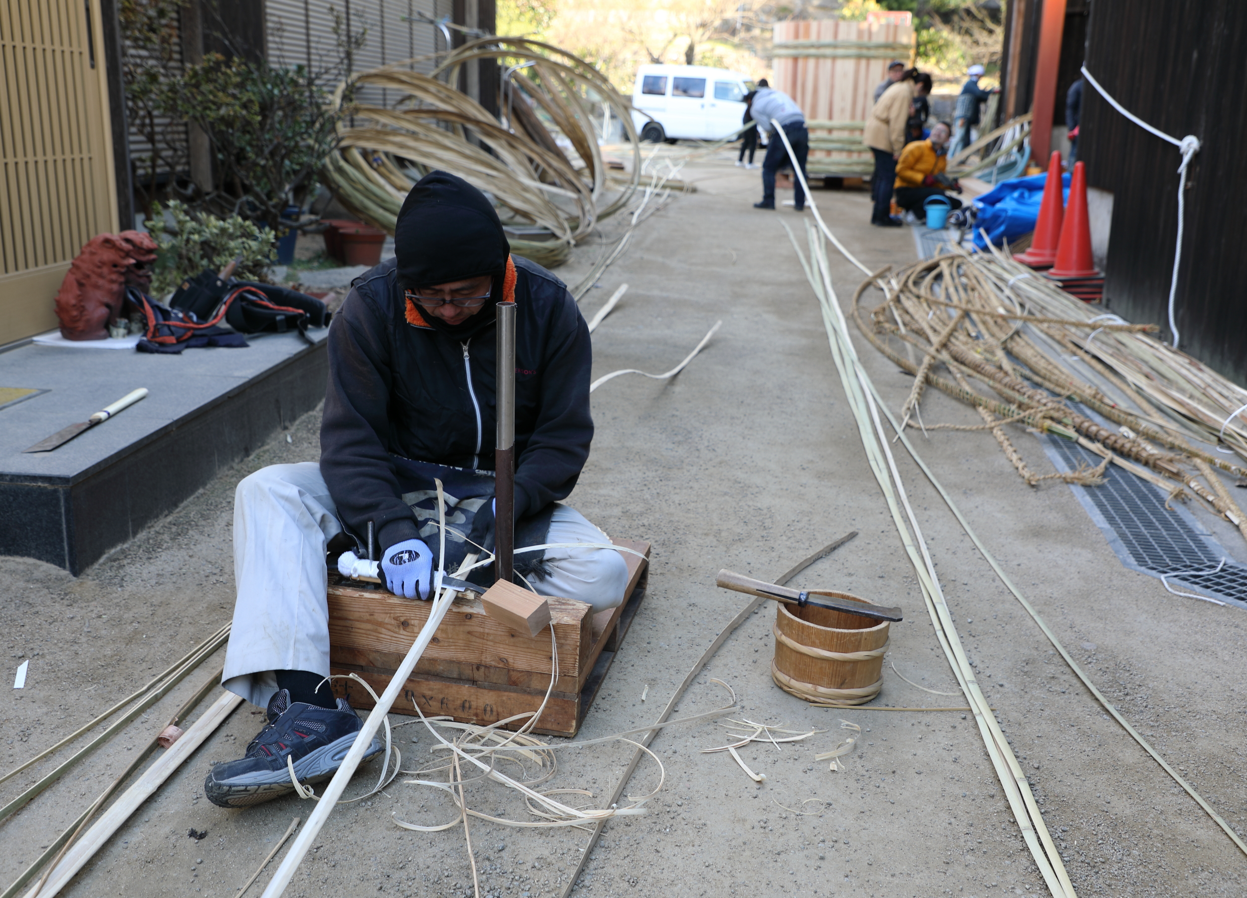 Slicing Bamboo Into Strips