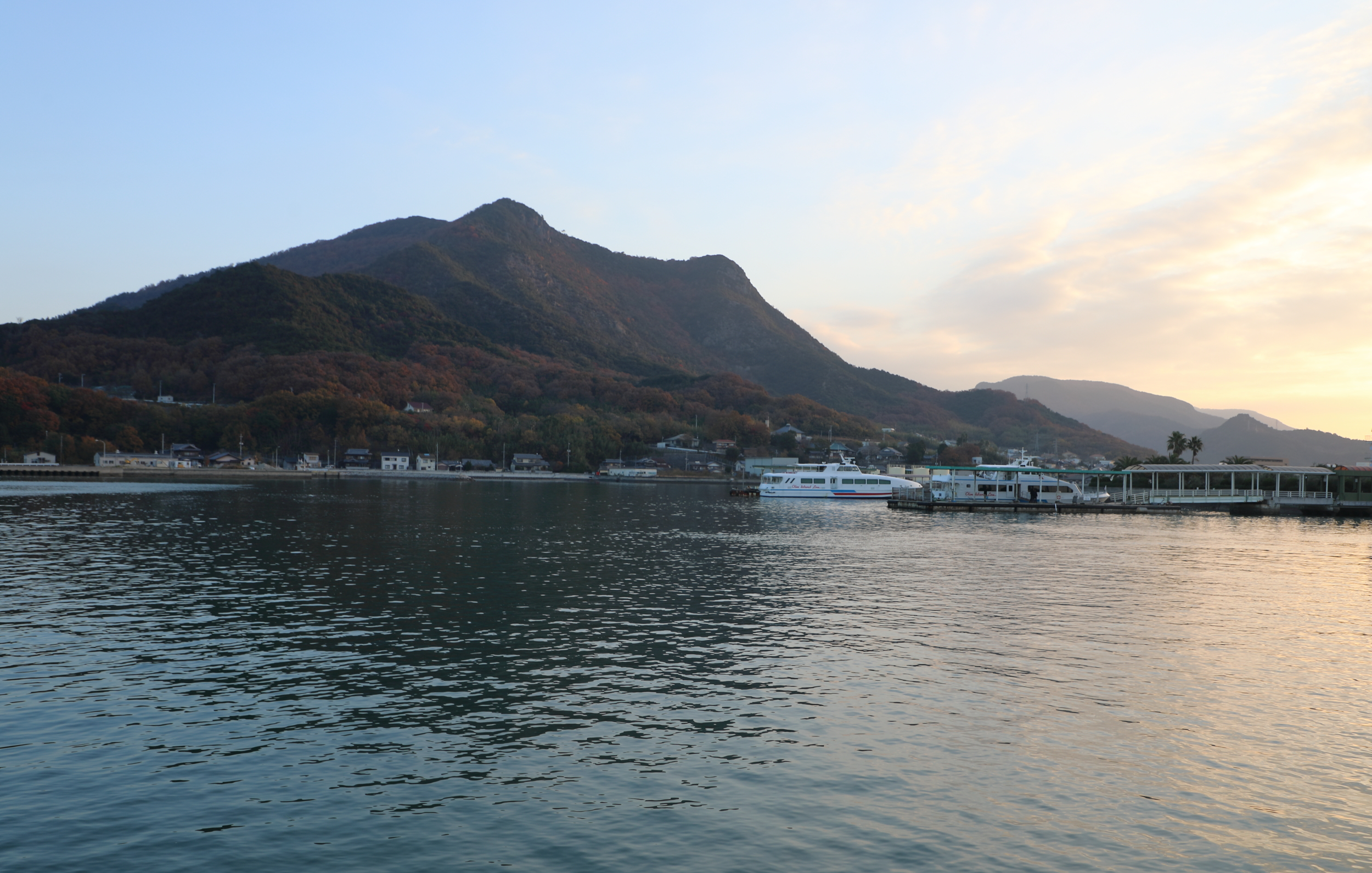 Early morning arrival at the ferry terminal on Shodoshima Island.