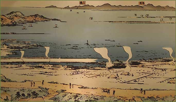 Enden clay pan salt making at Gyotoku beach during the Edo period.