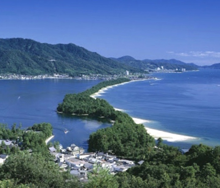 "Wine and Inn Chitose is located in the small village n the foreground at the base of Amanohashidate, the pine-covered sandbar known in Japan as the ""Bridge to Heaven"" and considered one of the country's ""Three Scenic Views."""