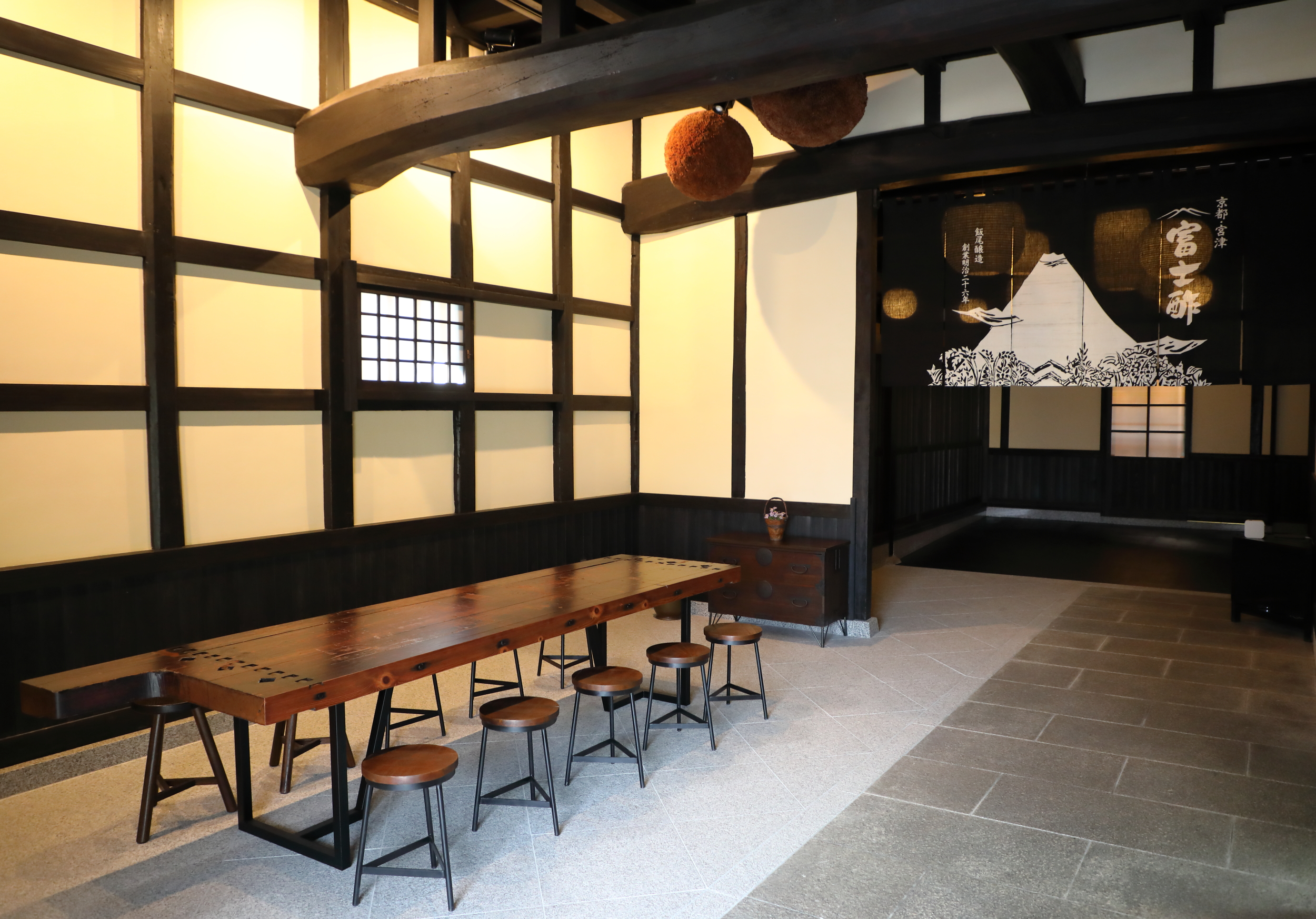 The newly expanded tasting room at the Iio Jozo Brewery, where Akihiro recently hosted twenty chefs visiting from the Culinary Institute of America.