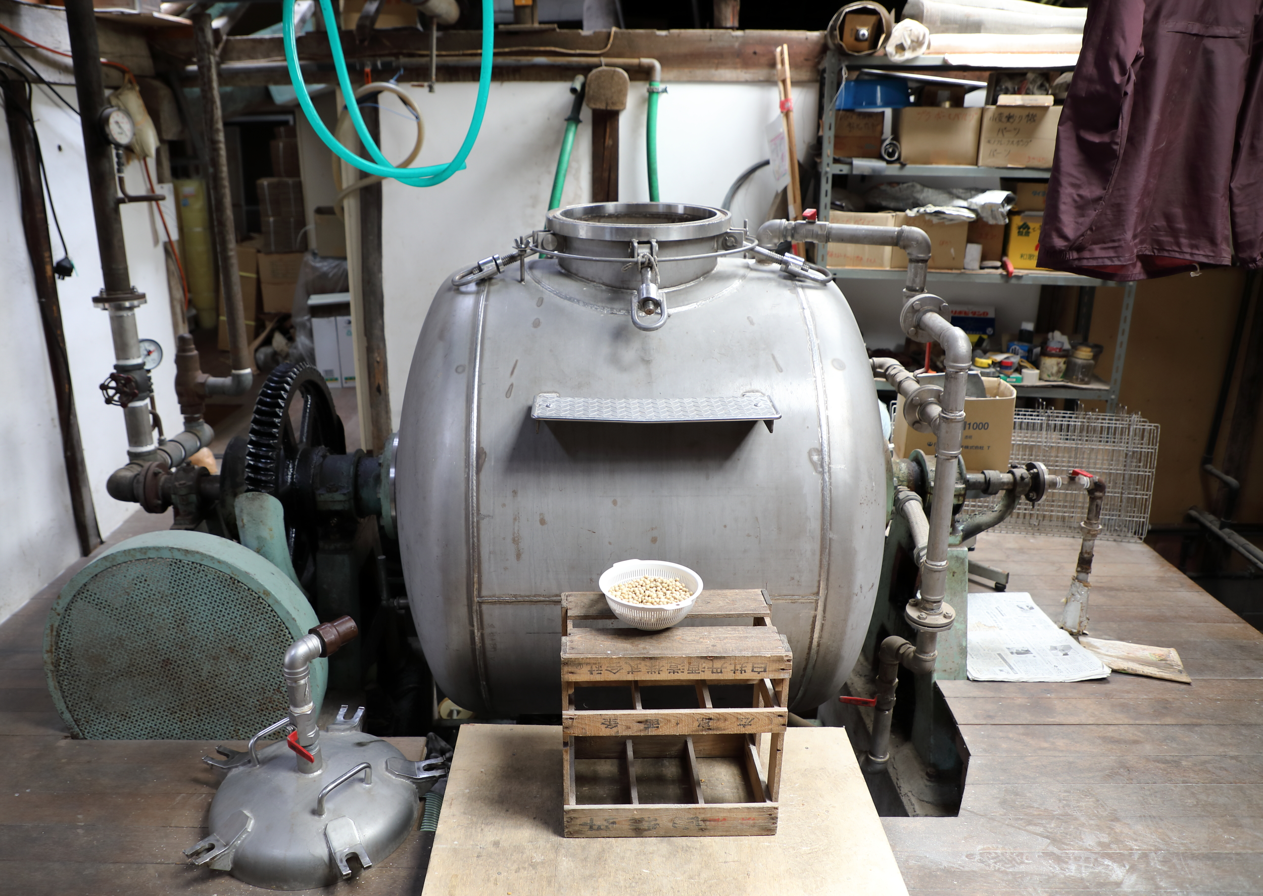 The large kettle used to steam the soy beans in the first step of the process of making Okamoto's soy sauce.